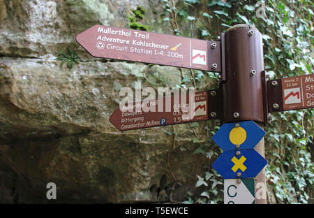 MULLERTHAL, LUXEMBOURG, 10 APRIL 2019: Way marker signage on the 'Mullerthal Trail' . A famous multi day trek in Luxembourg. - Stock Photo
