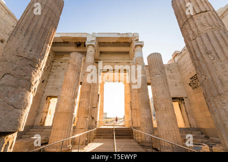Athens, Greece. The Propylaea, the monumental gateway that serves as the entrance to the Acropolis in Athens - Stock Photo
