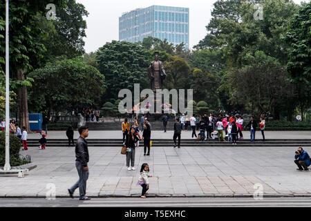 Statue of ly thai in hanoi, the capital of vietnam - close to hoan kiem lake. - Stock Photo