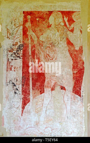 A view of a revealed medieval wall painting of St Christopher in the church of St Mary at Moulton St Mary, Norfolk, England, United Kingdom, Europe. - Stock Photo