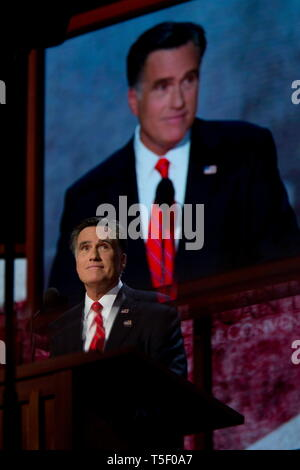 Presidential Hopeful Mitt Romney (R-Ut) holds his acceptance speech after being nominated as the Republican candidate for US President at the Republican National Convention in Tampa. - Stock Photo