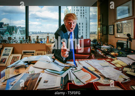 Real Estater, TV entertainer and business entrepreneur Donald Trump at his office in the Trump Headquarter on 56th and 5th on Manhattan. - Stock Photo