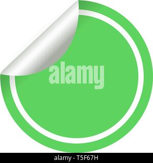 Blank green circle sticker on a white background vector. - Stock Photo