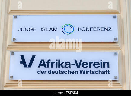 Signs, Young Islam Conference, Afrika-Verein der deutschen Wirtschaft, Berlin, Germany - Stock Photo