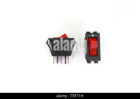 toggle switch Black switches with backlight, on/off - position isolated on white background. High resolution image gallery. - Stock Photo