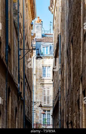 Narrow street in historic city center of Bordeaux
