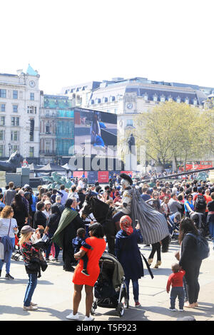 Thousands gathered for the Wintershall Passion Play 2019, in Trafalgar Square, central London, UK - Stock Photo