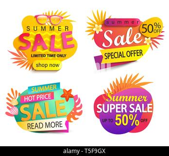 Set of summer sale and discount stickers.Special offer for mid or end of hot season. Low price tag.Invitation for online shopping with 50 percent off, - Stock Photo