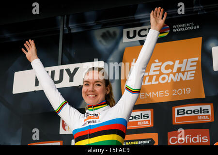 24 april 2019 Huy, Belgium Cycling La Fleche Wallone    Anna van der Breggen wint haar 5e Waalse Pijl - Stock Photo