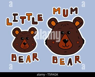 Cartoon mother bear and little bear. Sticker or print fop shirt. Cute animals and funy lettering.Vector illustration for kids and parrents. Pattern fo - Stock Photo