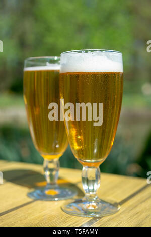 Cold Belgian white beer in glass served outside in sunny day - Stock Photo