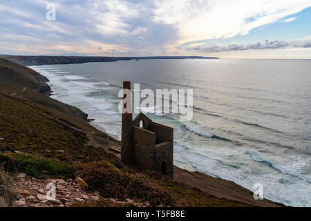 Wheal Coates Tin Mine Cornish Coastal View. Stack, Whim Engine House and Stamps and Whim Engine House With An Atmospheric Sky. Saint Agnes, Cornwall, - Stock Photo