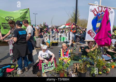 Extinction Rebellion protest on Waterloo Bridge, London, UK - Stock Photo