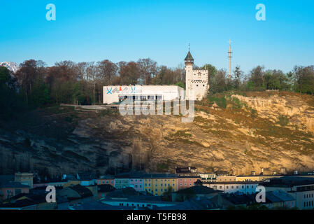 Museum Der Moderne Salzburg, view of the Museum Der Moderne sited on top of Monchsberg hill overlooking the city of Salzburg, Austria. - Stock Photo