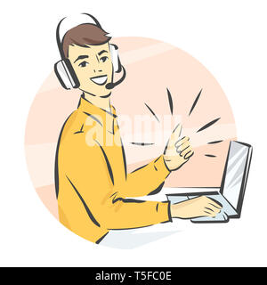 Call center support, man in handsfree headphones working on laptop and showing thumb up isolated illustration - Stock Photo