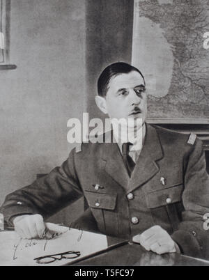 Portrait of Charles de Gaulle (1890 – 1970) a French army officer and statesman who led the French Resistance against Nazi Germany in World War II and - Stock Photo