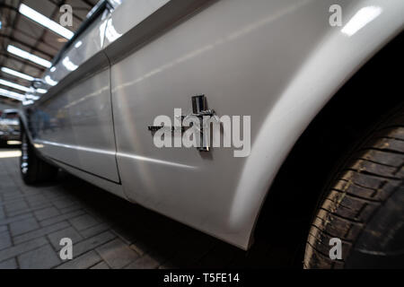 BERLIN - MAY 05, 2018: Detail of pony car Ford Mustang Coupe, 1965. - Stock Photo