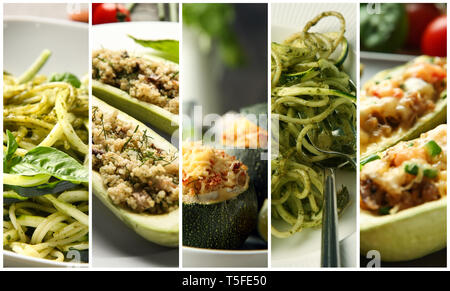 Collection of tasty dishes with zucchini, closeup - Stock Photo