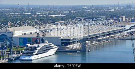 Aerial view Sunborn yacht floating hotel Royal Victoria Dock & roof of Excel Exhibition Centre East London Docklands urban landscape Newham England UK - Stock Photo