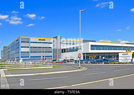 Big Amazon warehouse & distribution centre building handles online shopping retail internet & technology business development Tilbury Essex England UK - Stock Photo