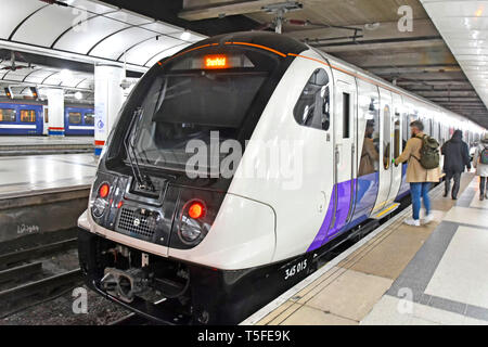 Crossrail train London Liverpool Street station platform all stations passenger service departing to Shenfield Essex using new modern train stock UK - Stock Photo