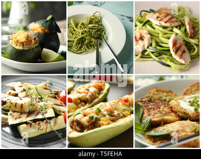 Collection of tasty dishes with zucchini - Stock Photo