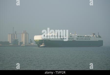 Wallenius Wilhelmsen ship in Southampton water, UK. - Stock Photo