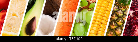 Fresh fruits and vegetables assortment, panorama collage - Stock Photo