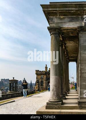 Tourists at Playfair City Observatory, now Collective Art Gallery, Calton Hill, Edinburgh, Scotland, UK - Stock Photo