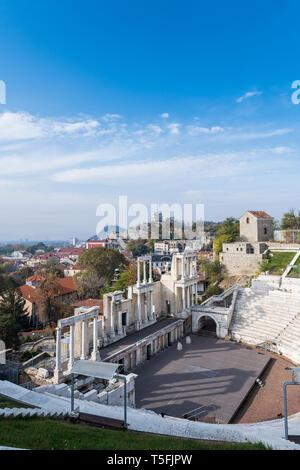Roman theatre of ancient Philippopolis, Plovdiv, Bulgaria - Stock Photo
