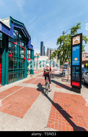 Chinatown Station Plaza in the Seattle International District. - Stock Photo