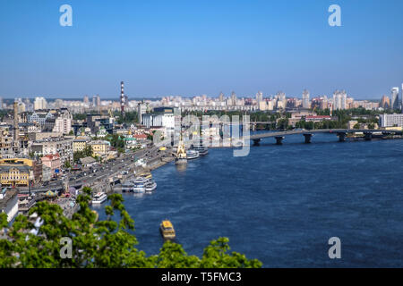 A view over Kiev in Ukraine, to the left with the river dnepr on the right - Stock Photo