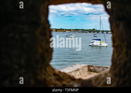 St. Augustine, Florida. March 31 , 2019 . Partial view of Matanzas river and sailboats from Stone Turret window in Castillo de San Marcos Fort at  Flo - Stock Photo