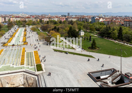SOFIA, BULGARIA -APRIL 21, 2019: Panoramic view of city of Sofia from National Palace of Culture, Bulgaria - Stock Photo