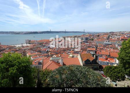 Roof tops of Lisbon looking towards the suspension bridge