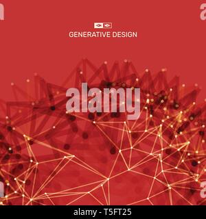 Scientific illustration with connected lines and dots. Luminous microscopic forms. Glowing grid. Connection structure. Wireframe vector illustration. - Stock Photo
