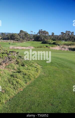MONTEREY COUNTY, USA - APRIL 7, 2014: Pebble Beach Golf Links in California. It is one of most renowned golf courses with PGA Tour and Champions Tour  - Stock Photo