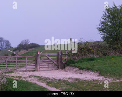Walkers approaching kissing Gate Harting Down on South Downs Way National Trail from Winchester to Eastbourne West Sussex UK - Stock Photo