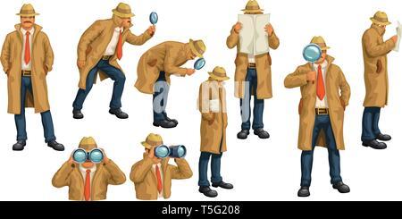 spy set on white - Stock Photo