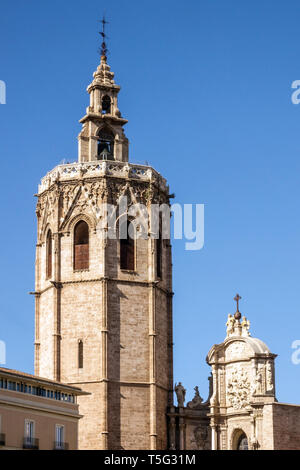 Spain, El Miguelet Tower, Valencia Cathedral Tower from Plaza de la Reina Valencia Spain Europe - Stock Photo