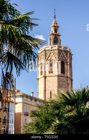 Spain, El Miguelet Bell Tower with Palm tree, Cathedral Tower Valencia Cathedral from Plaza de la Reina Square, Europe - Stock Photo