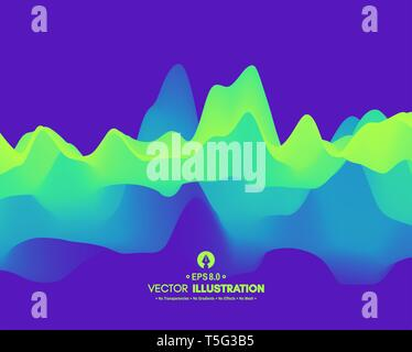 Abstract wavy background with dynamic effect. Vector illustration. Can be used for advertising, marketing, presentation. - Stock Photo