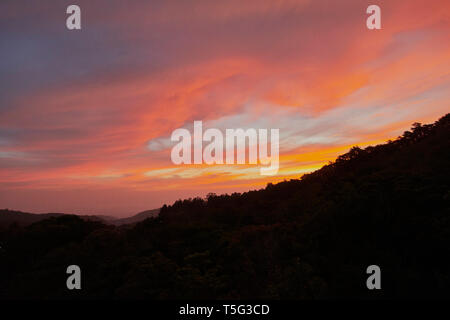 Sunset over Monteverde, Puntarenas province, Costa Rica, Central America - Stock Photo