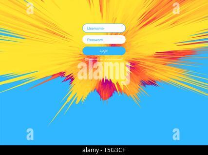 Login user interface. Modern screen design for mobile app and web design. Gradient background. Website element. Vector illustration. - Stock Photo