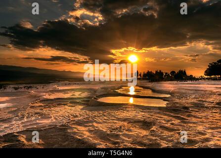Pamukkale travertine sunset - Stock Photo
