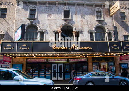 New York, NY - April 3, 2019: View of the marquee and sign for the famous Brooks Atkinson Theater in the Theater District of Manhattan New York City - Stock Photo