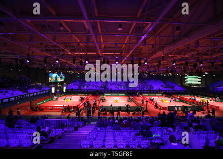 General view,  APRIL 24, 2019 - Table Tennis : 2019 World Table Tennis Championships  at HUNGEXPO Budapest Fair Center, Budapest, Hungary. (Photo by Sho Tamura/AFLO SPORT) - Stock Photo
