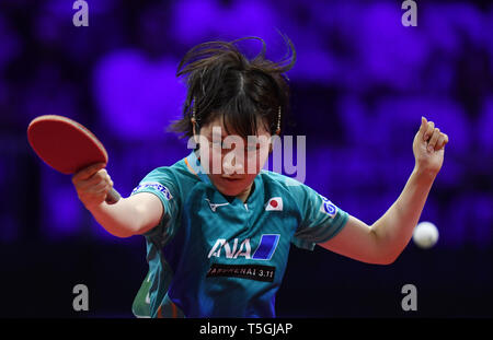 (190425) -- BUDAPEST, April 25, 2019 (Xinhua) -- Hirano Miu of Japan competes during the women's singles round of 16 against Soo Wai Yam Minnie of China's Hong Kong at 2019 ITTF World Table Tennis Championships in Budapest, Hungary, April 24, 2019. Hirano Miu won 4-2. (Xinhua/Tao Xiyi) - Stock Photo