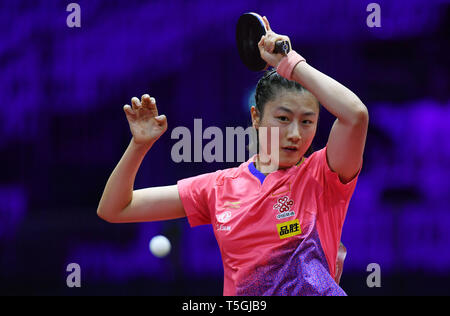 (190425) -- BUDAPEST, April 25, 2019 (Xinhua) -- Ding Ning of China competes during the women's singles round of 16 against Suh Hyowon of South Korea at 2019 ITTF World Table Tennis Championships in Budapest, Hungary, April 24, 2019. Ding Ning won 4-1. (Xinhua/Tao Xiyi) - Stock Photo