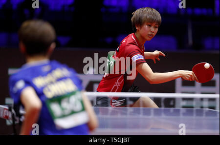 (190425) -- BUDAPEST, April 25, 2019 (Xinhua) -- Hitomi Sato of Japan competes during the women's singles round of 16 match against Wang Manyu of China at 2019 ITTF World Table Tennis Championships in Budapest, Hungary, April 24, 2019. (Xinhua/Han Yan) - Stock Photo